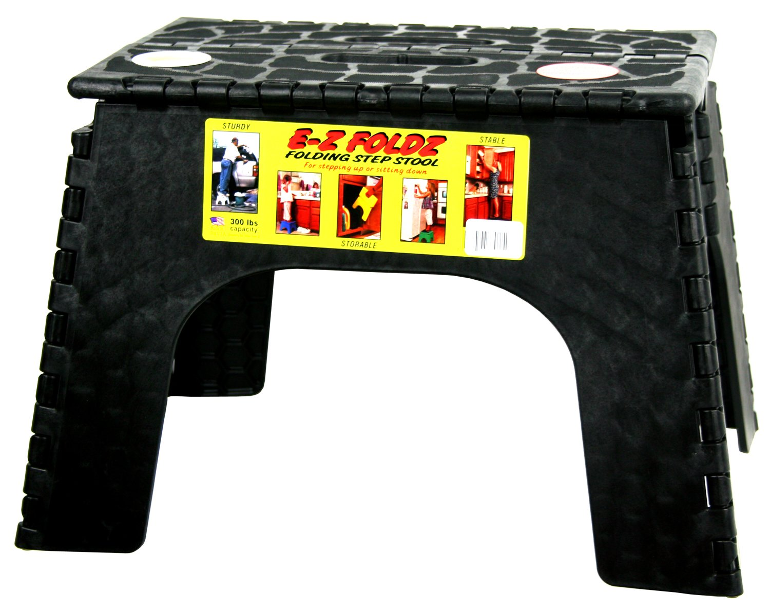 Amazon.com B u0026 R Plastics 103-6BK E-Z Foldz Black 12  Step Stool Automotive  sc 1 st  Amazon.com : folding step up stool - islam-shia.org