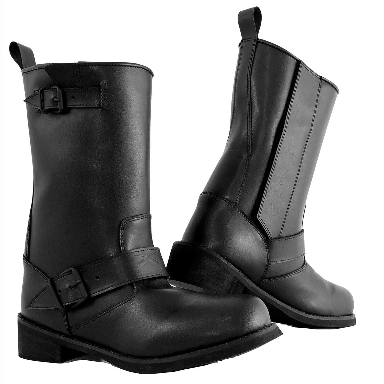 A-pro Bottes Cuir Ouverture Zip Moto Chaussures Impermeable Unisexe Custom noir 45