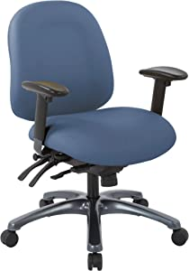 Office Star 8500 Series Multi-Function Mid Back Executive Ergonomic Office Chair with Seat Slider and Titanium Finish Base, Dillon Blue Fabric