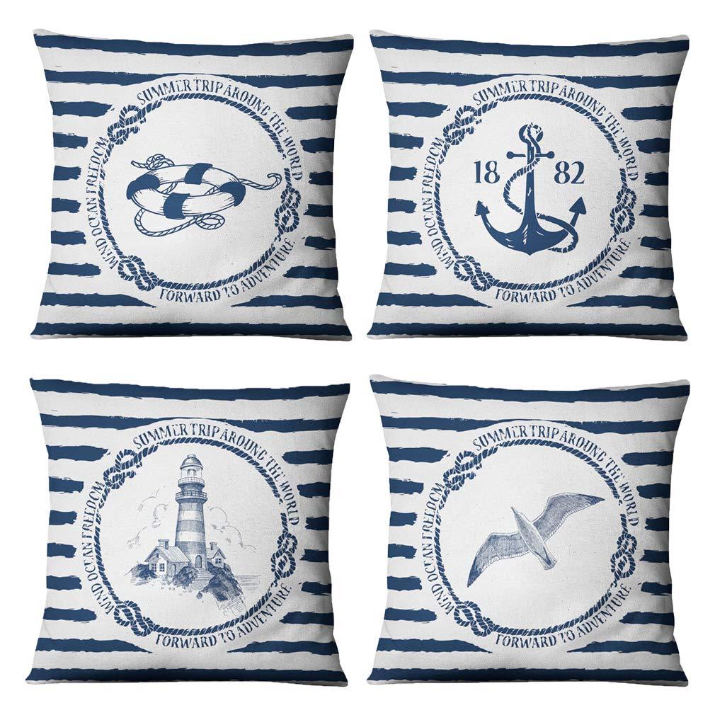 Ocean Fodera per Cuscino Federa da Mare Modern Blue Stripe Lino in Cotone per Auto Divano Letto Federa 18 X 18 Pollici 4 Pezzi Set