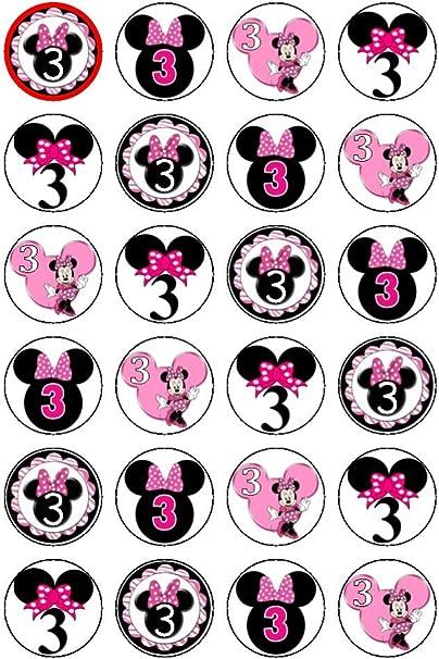 Superb 24 X Disneys 3Rd Birthday Minnie Mouse Edible Cupcake Cake Toppers Funny Birthday Cards Online Necthendildamsfinfo