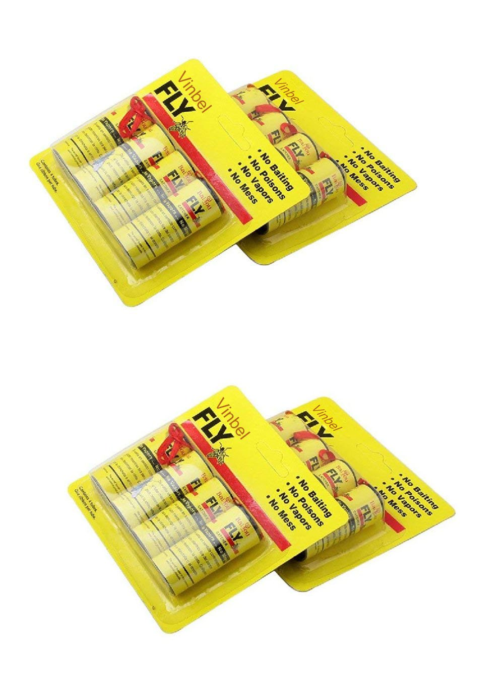 Vinbel Sticky Fly Ribbons, Fly Catcher Ribbon Fly Paper Strips,Fly Trap, Fly Catcher Trap, Fly Bait - 16 Pack