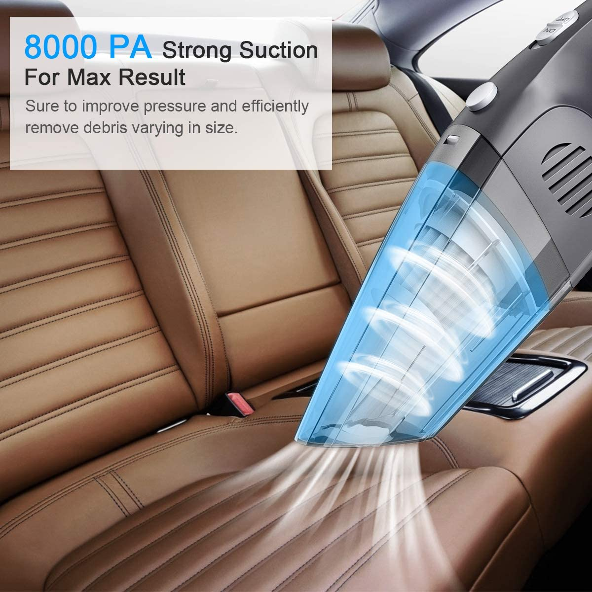 Hand Vacuum Cordless Powerful Suction Lightweight Mini Vacuum Wet Dry Quick Charge Car Vacuum Cleaner for Pet Hair Handheld Vacuum Home Office and Car Cleaning