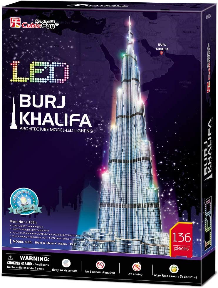 Architecture Model Building Kit Toys for Adults and Kids 136 Pieces CubicFun 3D Puzzles for Adults Dubai Burj Khalifa Night Edition 146CM with Multi-Colored Lights