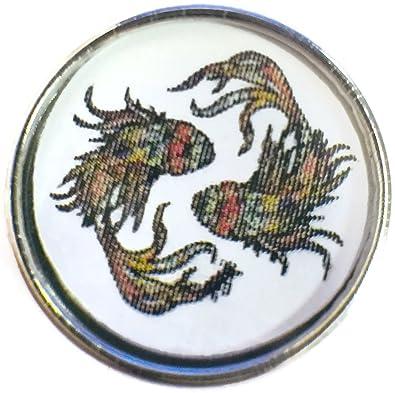 Pisces Art Deco Zodiac Sign Horoscope Symbol 18MM