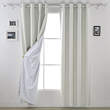 Deconovo Cream Blackout Curtains Grommet Window With White Backing Layer For Kids Room 52W X