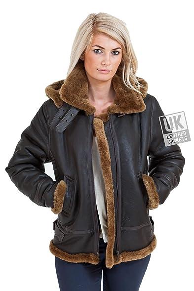 Womens Shearling Sheepskin Flying Jacket - Detach Hood - Soft ...