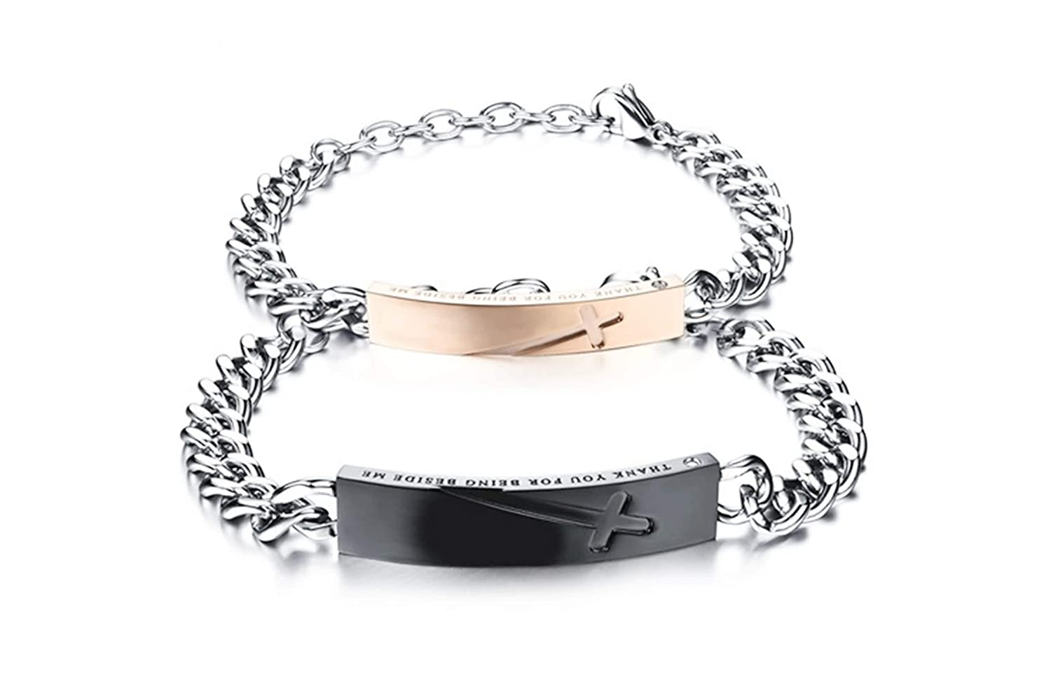 ANAZOZ Jewelry Stainless Steel Chain Link Bracelet for Couple Rectangle Cross Zirconia Black Rose Gold