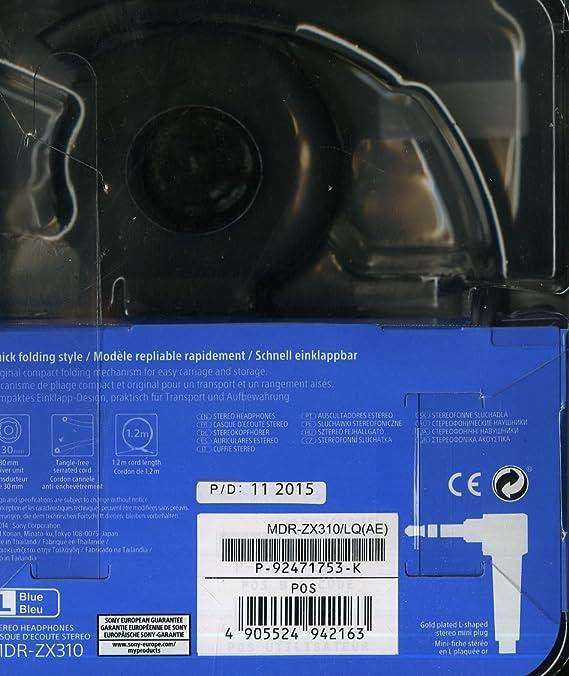 Sony MDR ZX310 Cuffie On Ear, Blu