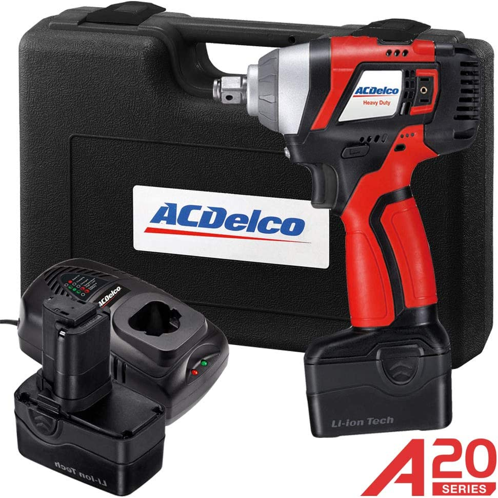 20V Li-Ion Cordless 1//2 Inch Impact Wrench Kit With 2 Batteries Charger And Case