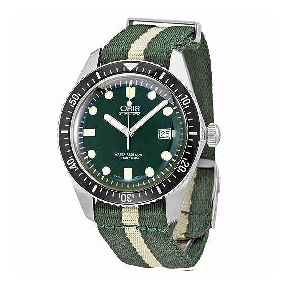 Oris buceadores sesenta y cinco W/blanco y verde de la OTAN correa de tela