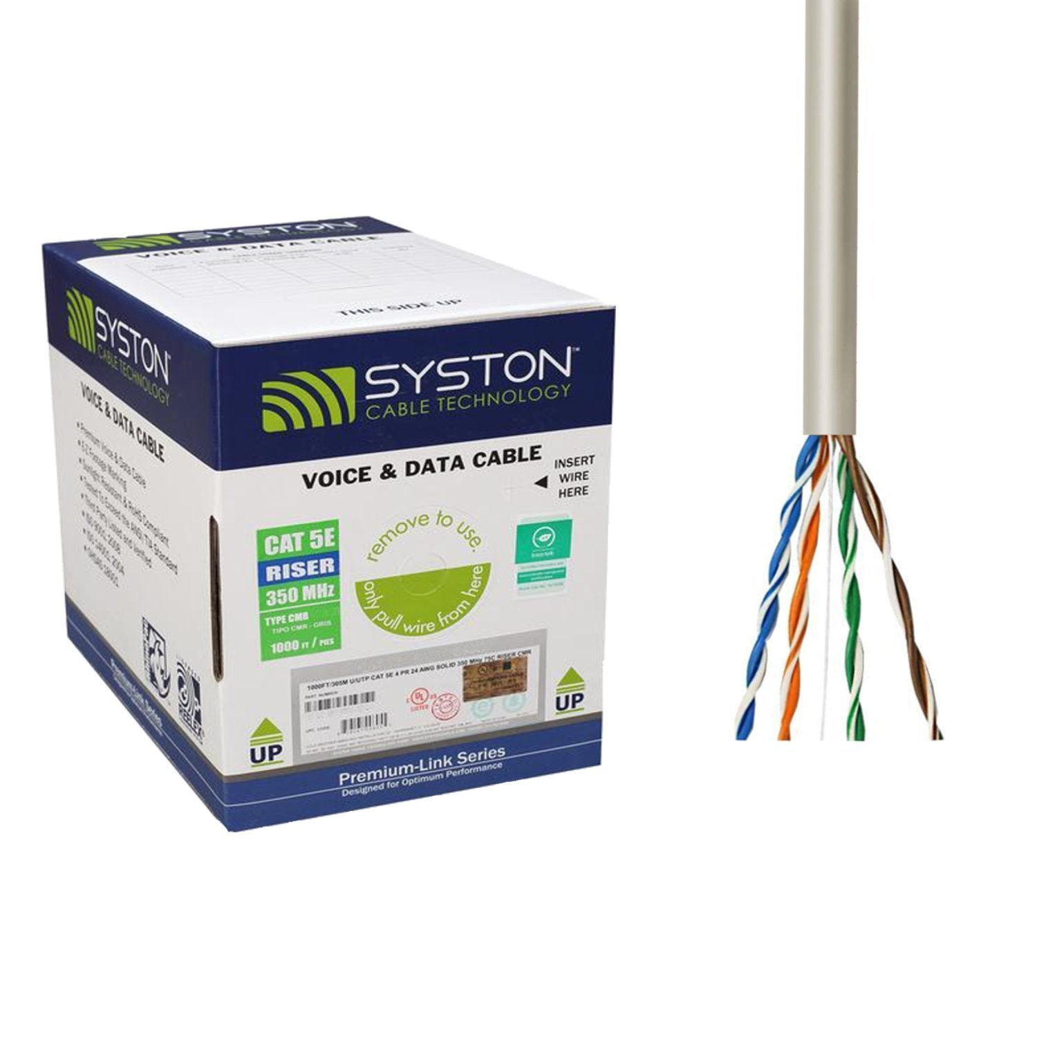 Cat5e Bulk Cable 500ft Pure Copper, Outdoor / Indoor Heat Resistant, Solid 350Mhz, 24AWG, UTP, Riser Rated CMR, Gray by Syston Cable by Syston Cable Technology