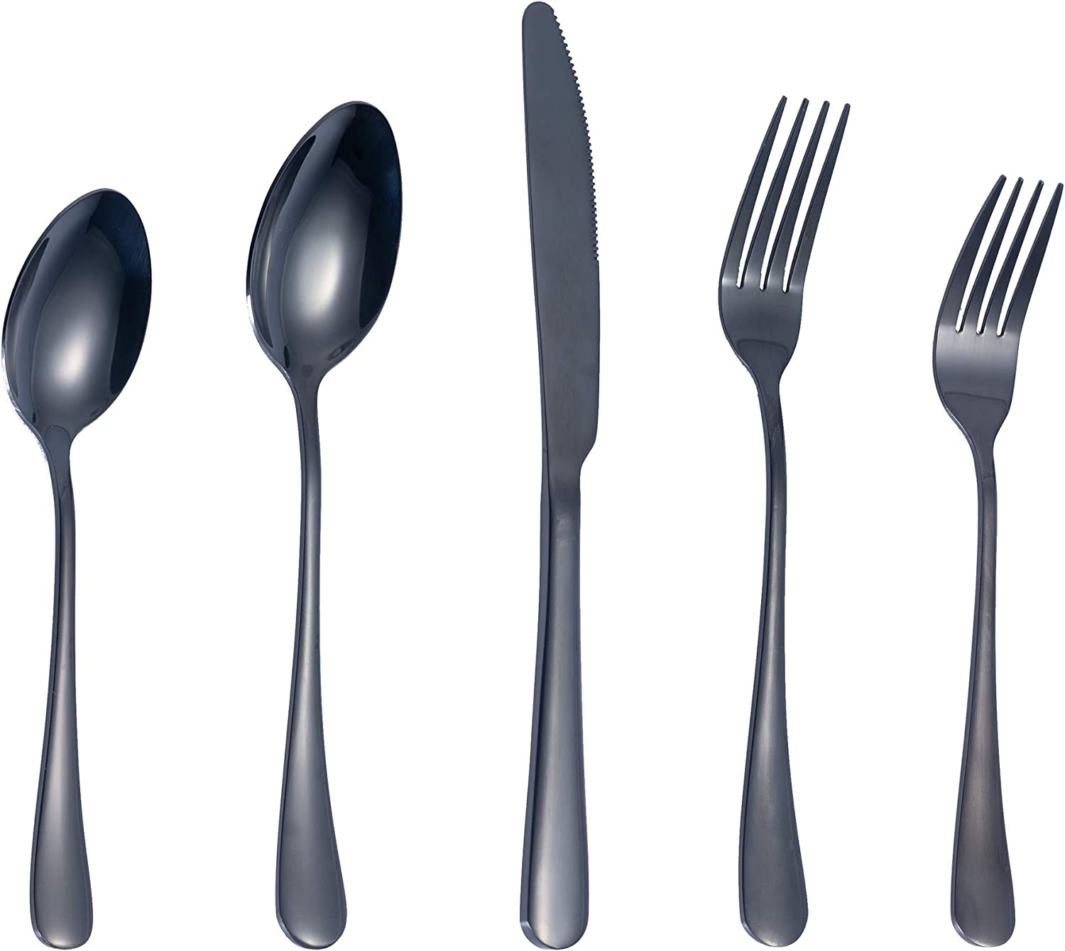 20-Piece Silverware Tableware sets Flatware Cutlery set for 4, Metal Stainless Steel, Include Knife/Fork/Spoon, Mirror Polished, Dishwasher Safe(Black)