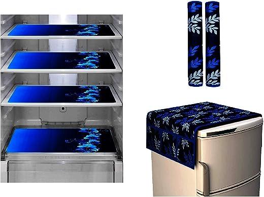 Goel Home Decor Premium Exclusive Decorative Kitchen Combo Fridge Top Cover(Blue Box),...
