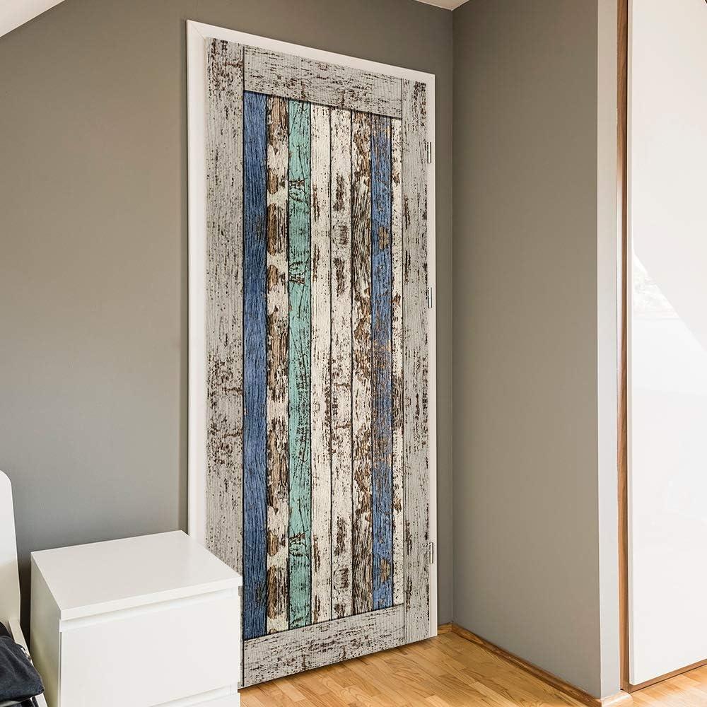 Arte de puerta 3D, Mural de puerta autoadhesivo, pegatinas de puerta tridimensional mejoras para el hogar puerta corredera imitación de antiguas pegatinas de puerta de madera-90cm * 200cm: Amazon.es: Bricolaje y herramientas