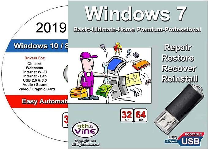 64 bit Recovery Install Re-Install Professional WINDOWS 7 USB Drive w// SP1 32