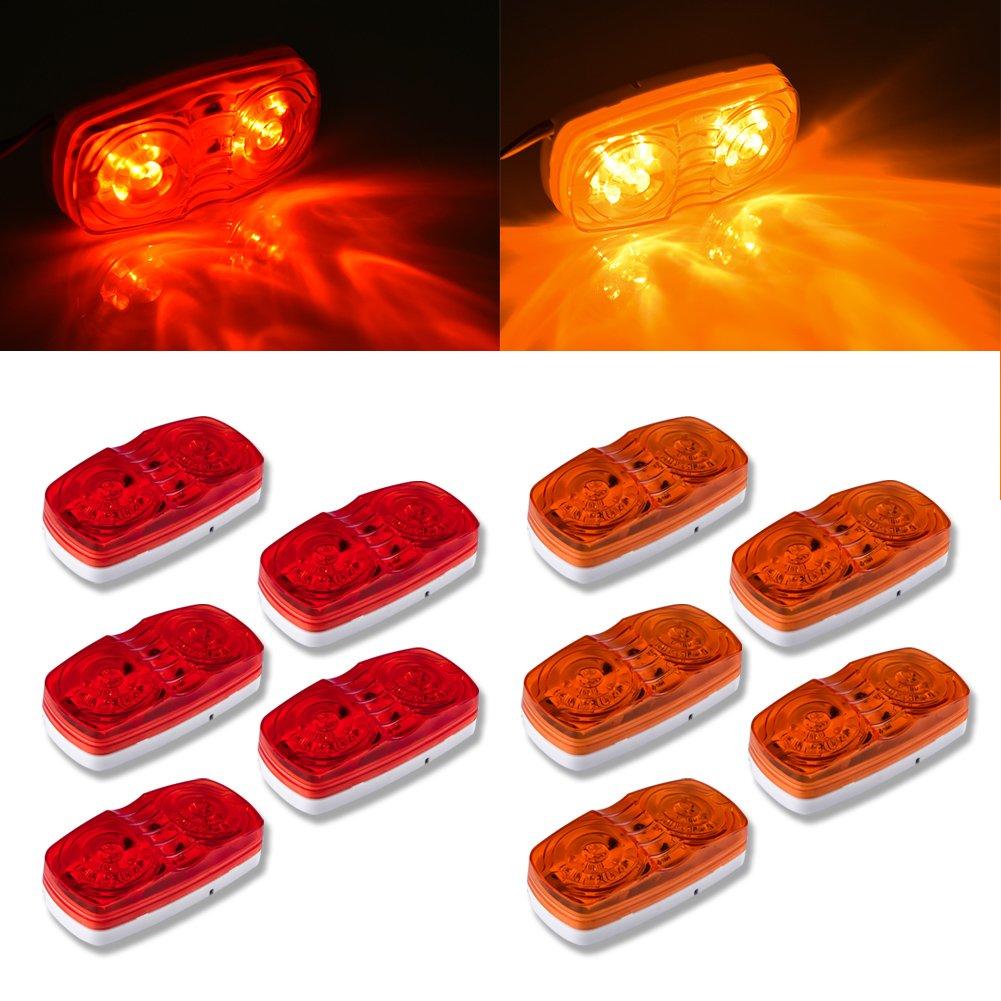 Catinbow 10PCS Led Trailer Light 4'' x 2'' Rectangular Led Light Double Bullseye 10 Diodes Boat Trailer Truck RV Light Red + Amber by Catinbow