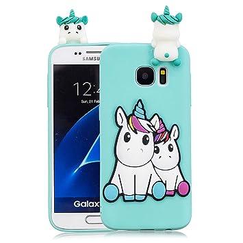 Funluna Funda Samsung Galaxy S7 Edge, 3D Unicornio Patrón Cover Ultra Delgado TPU Suave Carcasa Silicona Gel Anti-Rasguño Protectora Espalda Caso ...