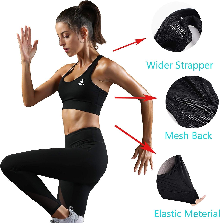 KIPRO Womens Sports Bra High Impact Racerback Workout Running Activewear Bras