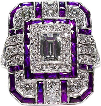 Goldenchen Fashion Jewelry Amethyst Silver Wedding Engagement Ring Art Deco Women Jewelry Gift Size 6-10 9