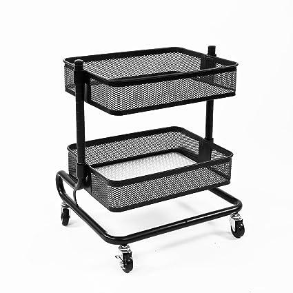 Bremermann® Carro utilitario ajustable de 2 niveles con 2 cestas (negro)