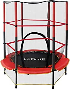 FirstE 55'' Kids Trampolines, Mini Trampoline for Children with Enclosure Net and Safety Pad, Recreational Trampoline with Built-in Zipper for Home Indoor Outdoor