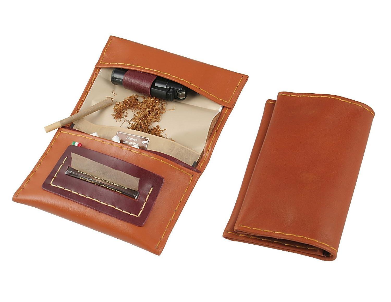 Portatabacco in vera pelle-Handmade in Italy-con porta accendino, porta filtri e porta cartine-cuoio e bordeaux