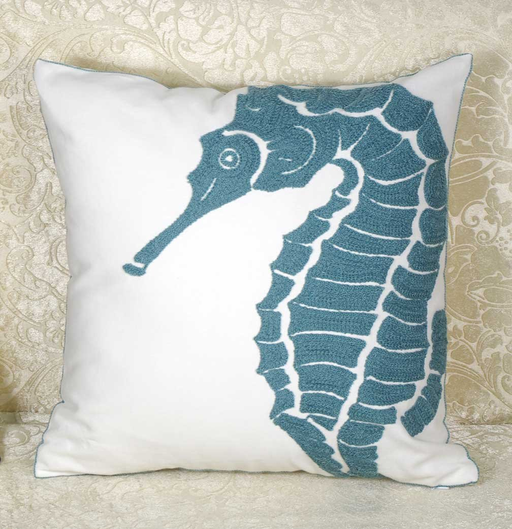 DECOPOW Embroidered Beach Throw Pillow Covers,Beach Decorative Canvas Pillow Cover for Nautical Style Deco 12 X 20 Inches Navy Beach