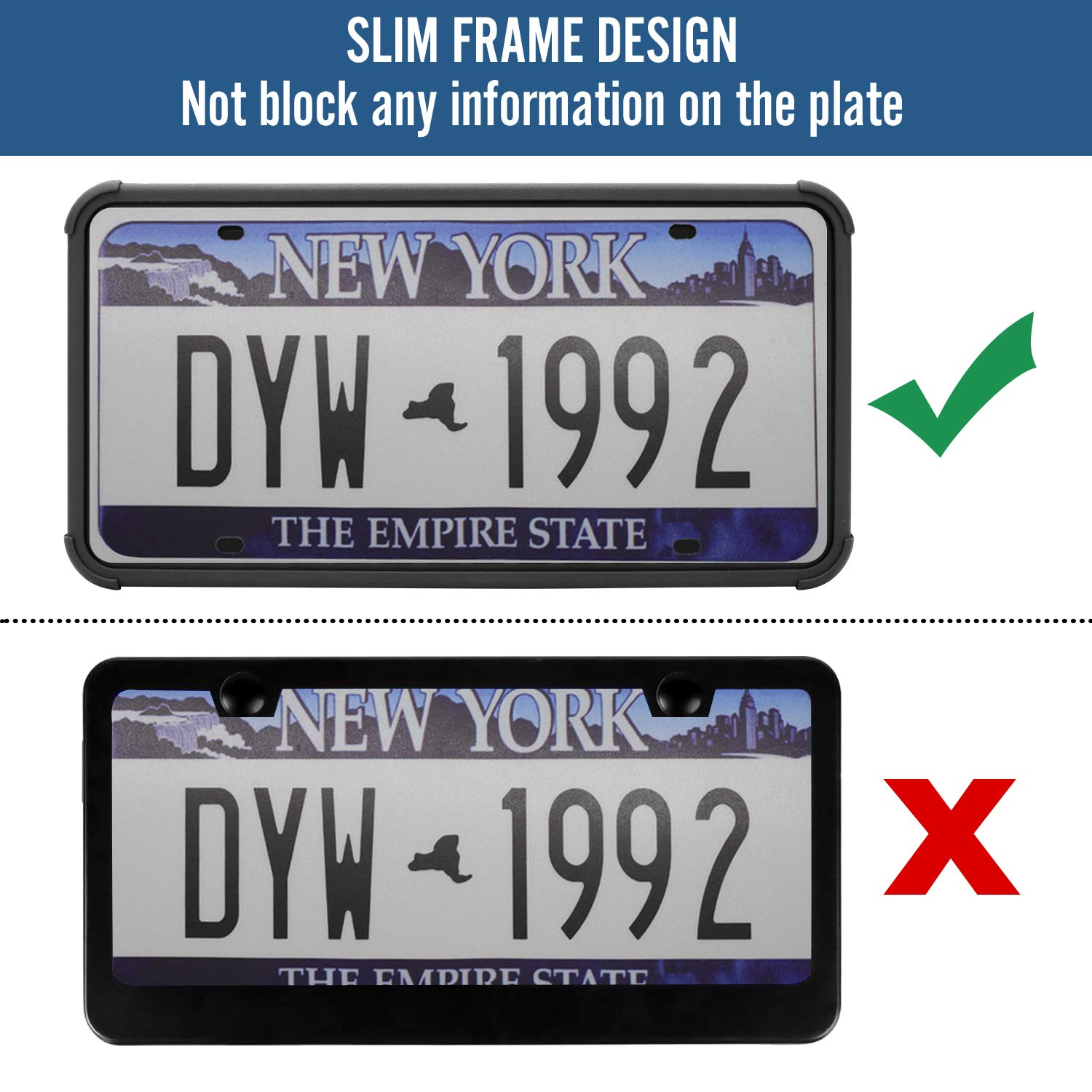 CARiDoo Auto License Plate Frame Silicone with Screws Universal American Canada License Plate Holder Rust-Proof & Rattle-Proof (Black)