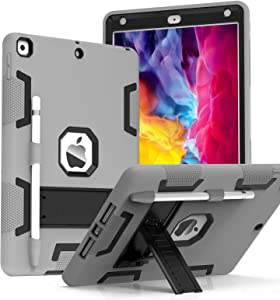CCMAO Case for iPad 8th Generation, iPad 7th Generation Case, Hybrid Three Layer Armor Shockproof Rugged Drop Protection Built with Kickstand [Pencil Holder] Case for iPad 10.2 2020 (Gray+Black)