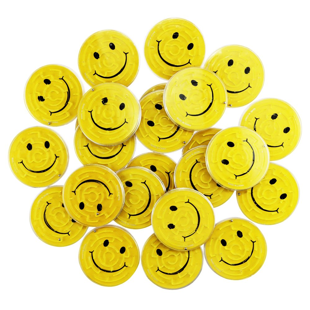 Yexpress Fun-Filled Yellow Mini Smiley Maze Puzzles Party Favours Plastic 2 3//4 Pack of 24 2 3//4