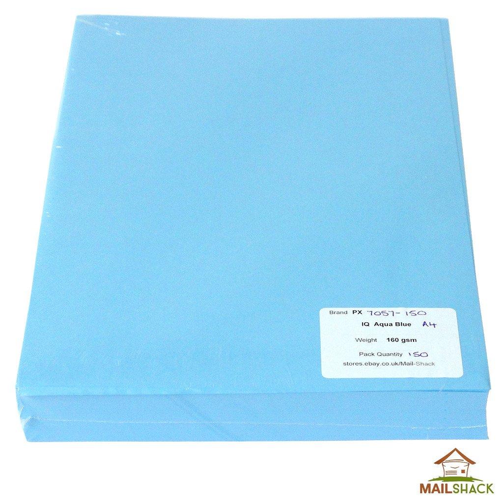 IQ Color A4 Aqua Blue Coloured Paper 160gsm - 50 Sheets: Amazon.co ...