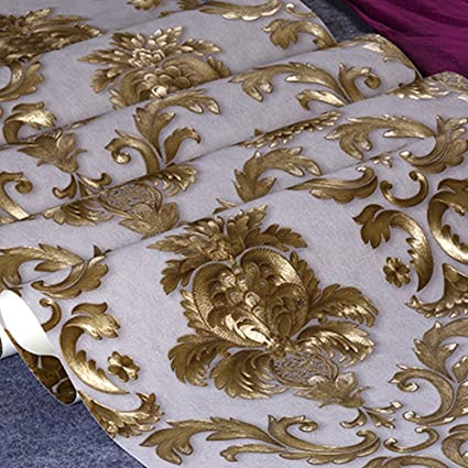 32 8ft X1 738ft Luxury Metallic Gold Textured Damask Wallpaper Home Room Wall Paper Rolls For Living Room Bedroom Bars 18306w