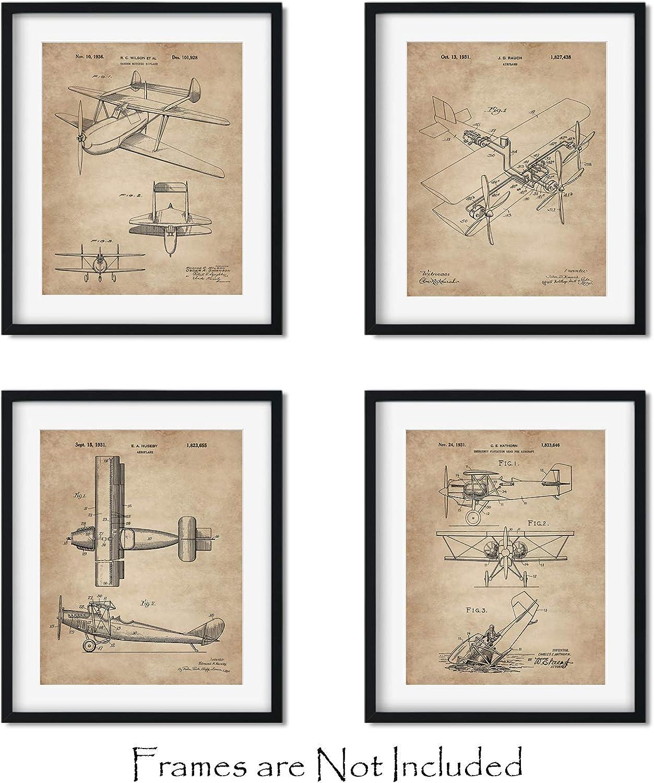"Biplanes Patent Wall Art -Set of FOUR 8""x10"" Aviation Prints - Great Pilot Gifts - Vintage Bi Plane Airplane Decor"