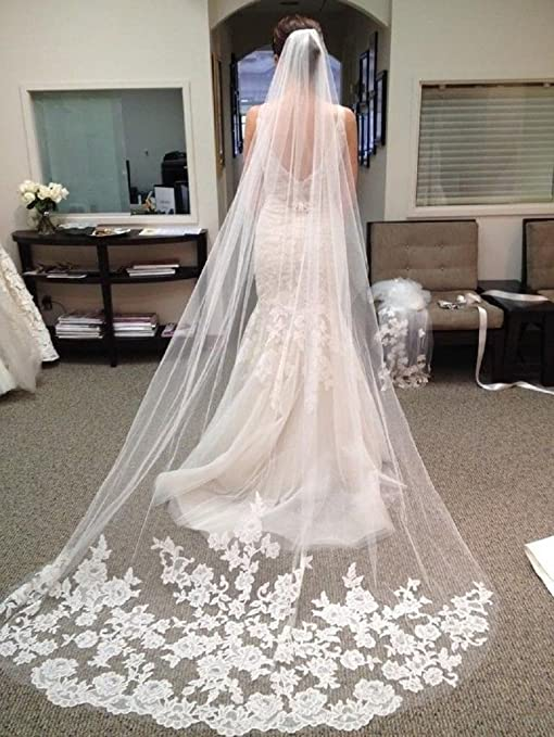 White Ivory Cathedral Length Lace Edge Bride Wedding Bridal Long Veil Comb