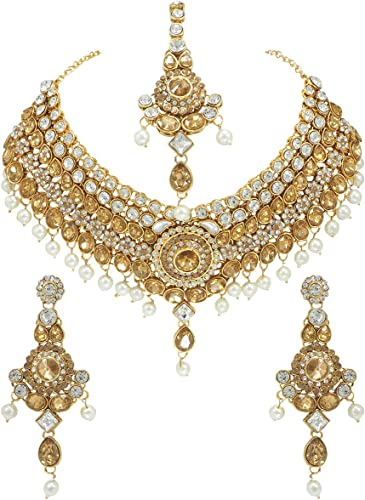 CROWN JEWEL Indian Bollywood Gold Plated Fashion Wedding Bridal Jewelry Necklace Earring Set for Women