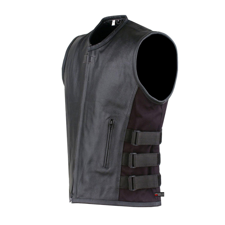New Men's Armor Biker Motorcycle Leather Adjustable Vest Stylish Black by Jackets 4 Bikes