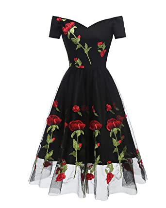 dc1931b1bb4 AOTILIUS Women s Vintage Style Rose Embroidered Evening Party Lace Swing  Dress (Black ...