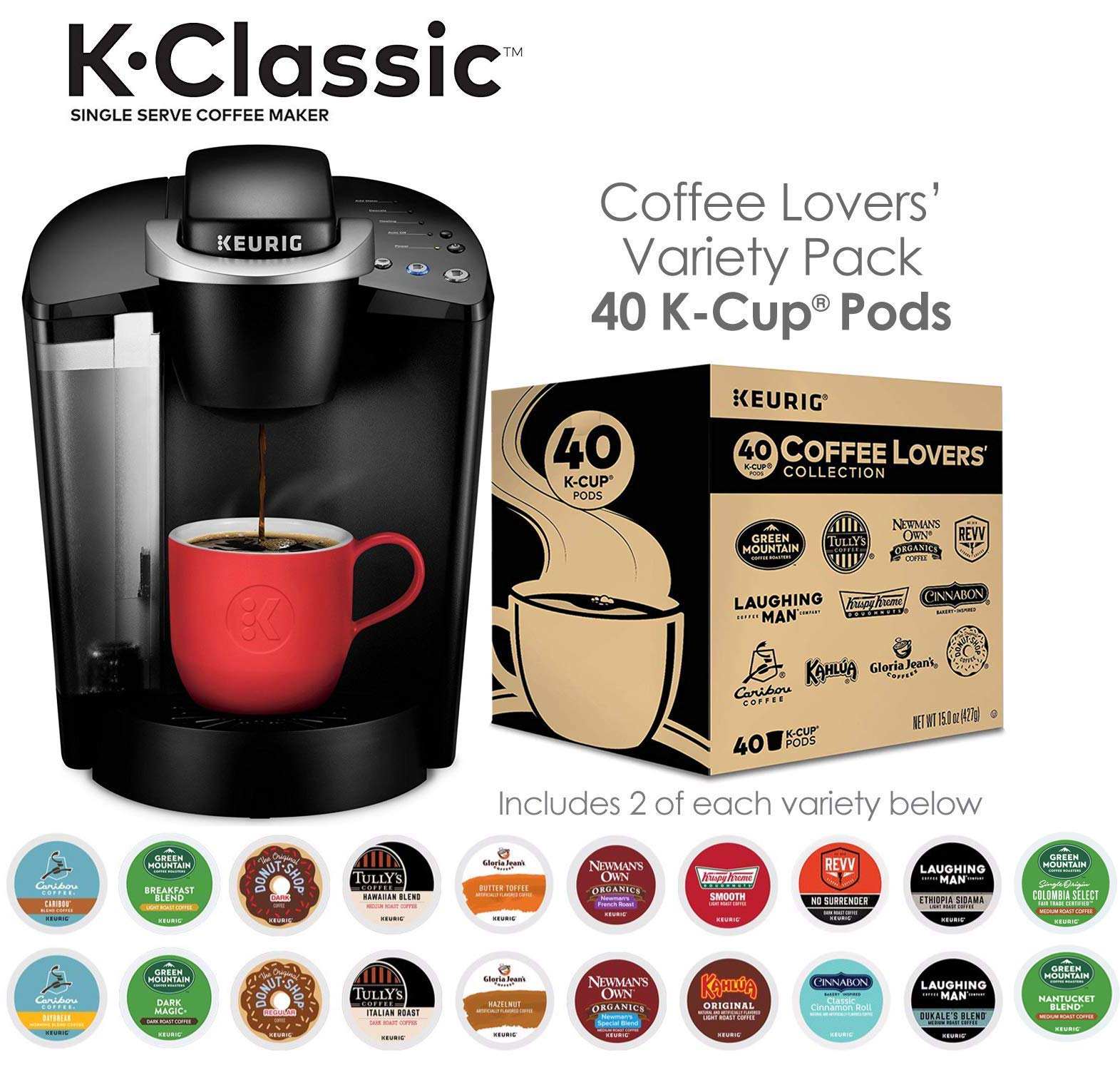 Keurig K-Classic Maker Single Serve K-Cup Pod Coffee Brewer, Black Lovers' Collection, 40 Count by Keurig