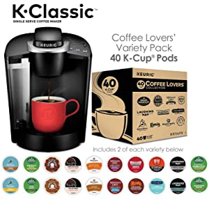 Keurig K-Classic Coffee Maker with Coffee Lover's 40 ct K-Cup Pods Variety Pack, Black