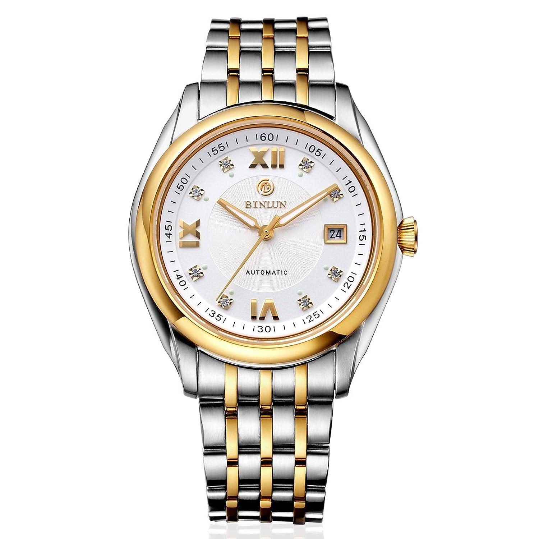 BINLUN Herren Automatik Business Kleid Uhr Edelstahl Großes Gesicht Uhren mit Datum