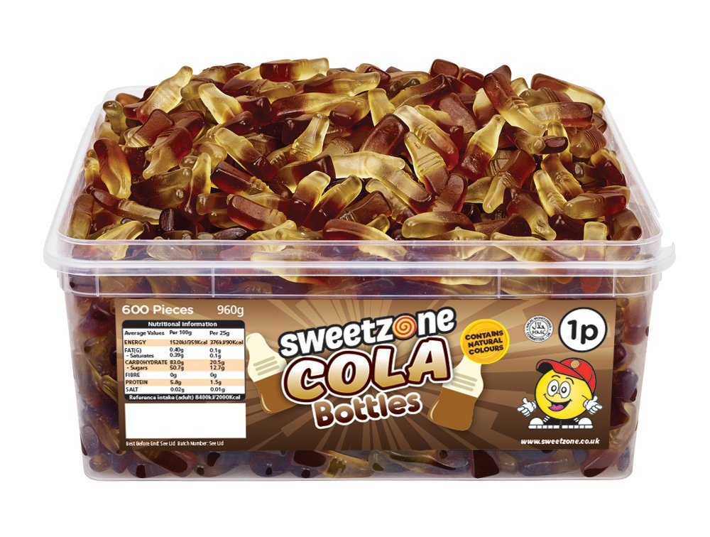 Saverschoice UK 100% Halal Jelly Sweets - Cola Bottles Tub of 600pcs