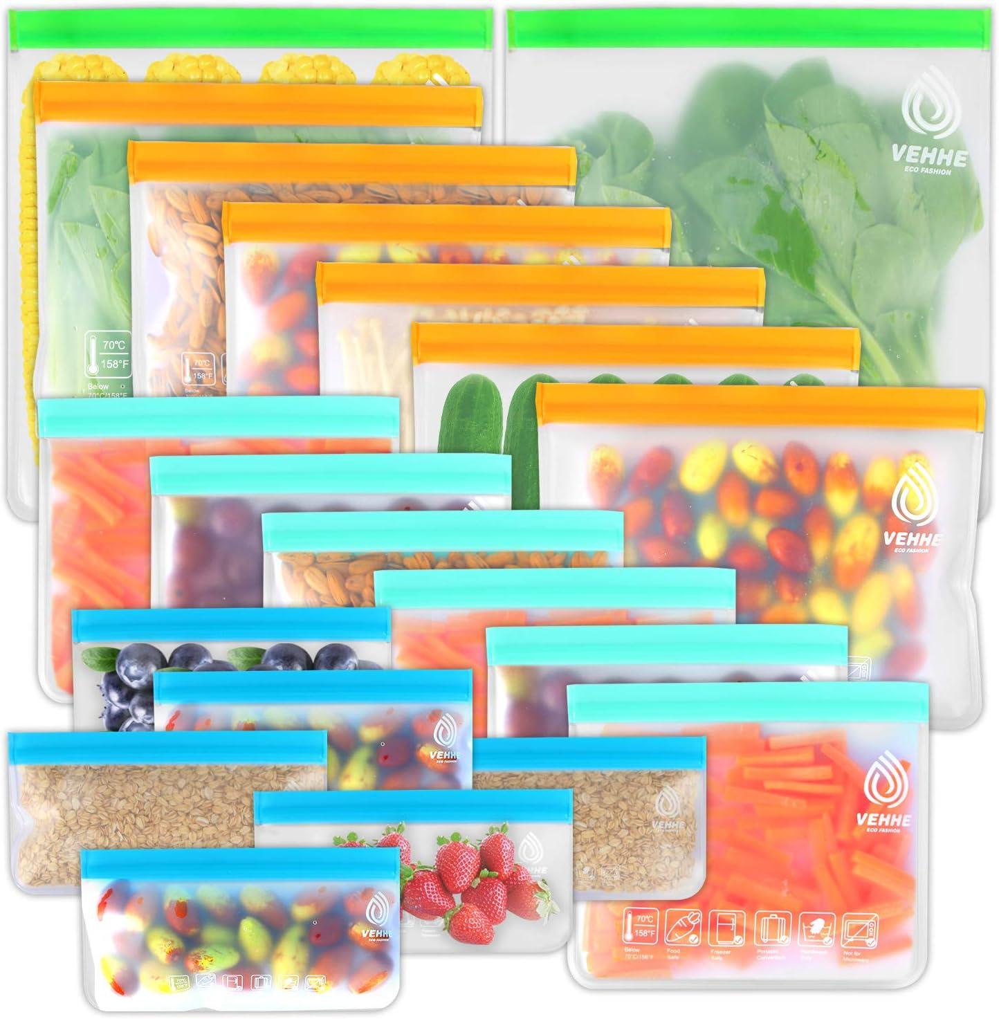 VEHHE Bolsas Silicona Reutilizables, 20pack Varios Tamaños Bolsas Congelacion PEVA de Calidad Alimentaria Bolsa de Almacenamiento Sellada a Prueba de Fugas Para Frutas Verduras Joyería Cosméticos