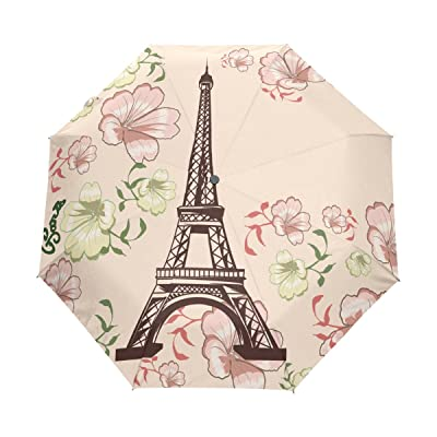 Ethel Ernest Eiffel Tower Surrounded By Flowers Folding Windproof Umbrella Waterproof Auto Foldable Umbrella
