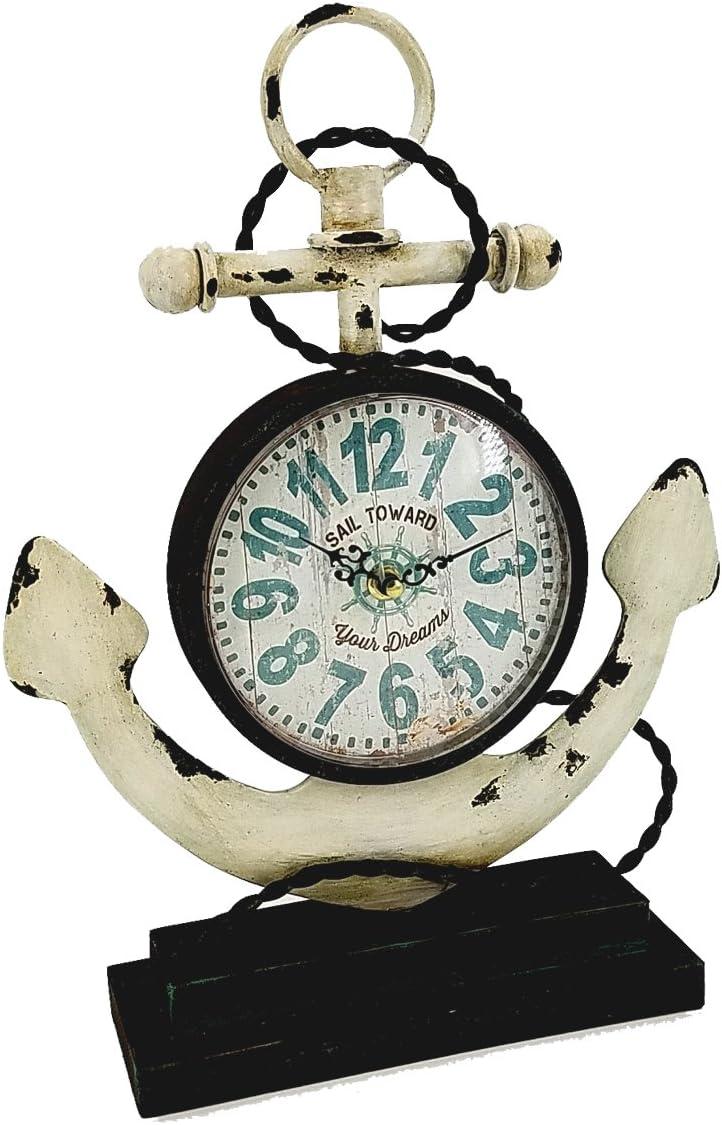 Amazon Com Es Essentials Ese Nautical Metal Anchor Tabletop Clock Beach House Decoration White Home Kitchen