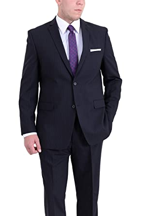 fdfe68ededc15 Ital Uomo Regular Fit Blue Pinstriped Two Button Wool Suit at Amazon ...