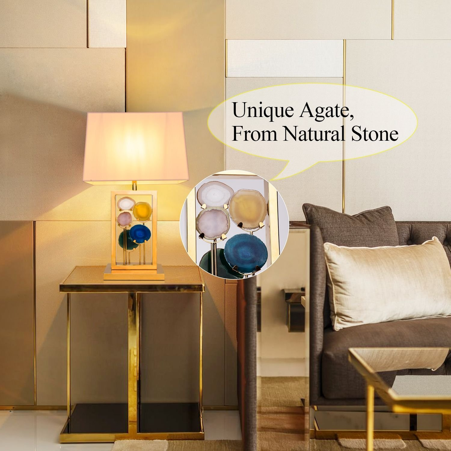Side Table Lamp Brlighitng Unique Designed Room Lamp in Luxury Agate Pieces Gold Base for Bedside Lamp Living Room Office Decor