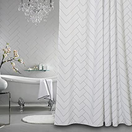 Hotel Quality White Striped Mold Resistant Fabric Shower Curtain For  Bathroom,Water Repellent 72