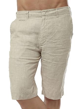 a7fcb7fe3b Chartou Men's Comfy Mid-Rise Light-Weight Linen Beach Shorts Five Pants(X