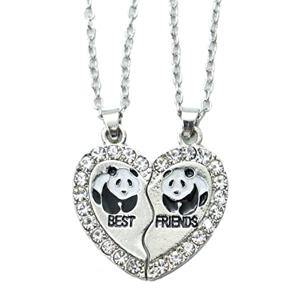 52023bcba8 Image Unavailable. Image not available for. Color: Monrocco 2pcs/Set  Rhinestone Bestfriends Engraved Letters Panda Animal Split Heart Pendant  Necklace for 2